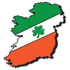 "Ireland Map Flag car bumper sticker 5"" x 4"""