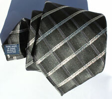 "New Mens Tie Black Gray Plaid Grid Stripe JOHN ASHFORD 58"" Long 3 1/2 Wide T218"
