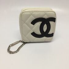 Rare Vintage Chanel Mini White Quilted Leather Chain Clutch CC Logo Bag