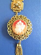 VINTAGE LOVERS CAMEO LOCKET PENDANT NECKLACE UNSIGNED