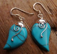 Ohrhänger 4 cm Silber Türkis Tropfen Modern Ohrringe Hänger Spirale Glanz Blau