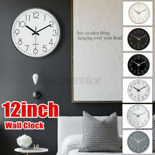 12 Inch Wall Clock Silent Non Ticking Clock for Living Room Bedroom White  *