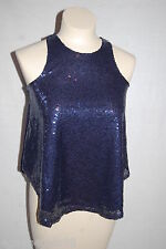 Womens DARK BLUE SPARKLE Sequin Covered DRESSY TANK TOP Cropped RUE 21 Size S