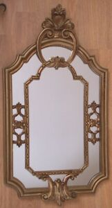 Vintage Ornate Syroco Style Gold Wall Mirror 22 x 12.25  Italy