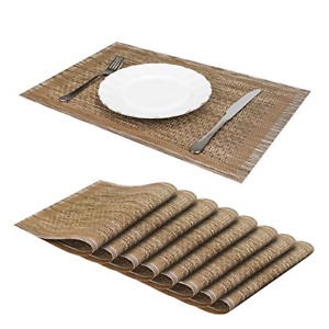 Jujin JJ Placemats Set of 8 Non-Slip Washable PVC Heat Resistant Table Mats for