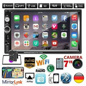 "2DIN Autoradio Bluetooth 7"" Touch Screen USB TF Mirror Link MP5 Player + Rahmen"