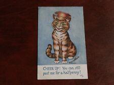 ORIGINAL LOUIS WAIN ANTHROPOMORPHIC TUCK CAT POSTCARD - CHEER UP! No. 8826.