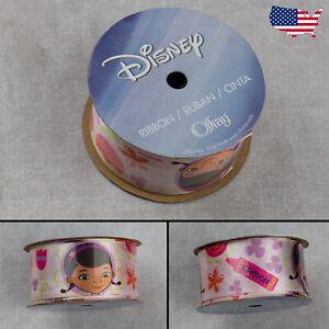 "1.5"" Disney Doc McStuffins White Ribbon-Offray 3 yds (9 ft) Flowers Crayon"
