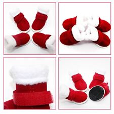 4PC/Set Santa Pet Dog Shoes For Small Puppy Cats Christmas Winter Warm Boots New