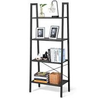 4-Tier Ladder Shelf Ladder Bookcase Bookshelf Display Rack Plant Stand Grey