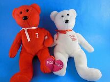 Pair of Valentines Day plush Beanie Babies One says I other says Love You