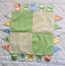 Carters Green Yellow Ribbon Tab Lovey Square Orange Blue Patchwork Silky Taggies