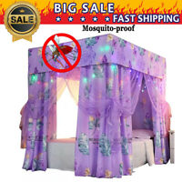 2019 NEW Lightproof Four Corner Bed Curtain Canopy +Mosquito Net+Bed Frame Post