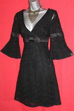 Karen Millen Negro Encaje Floral una línea Vintage años 60 Cóctel Vestido Manga 3/4 UK8