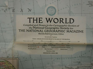 """Vintage """"The World"""" Map March 1957 National Geographic"""