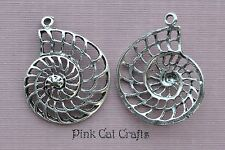 5 x AMMONITE CUT OUT SPIRAL SEA SHELL 36mm Tibetan Silver Charms Pendants Beads