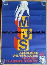 MJS Mouvement de la Jeunesse Socialiste 1978/79 affiche Plakat Original!