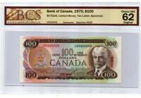RARE! 1975 $100 **SPECIMEN JA0000000** BANK OF CANADA - CHOICE UNC 62 BCS