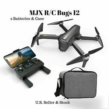 MJX R/C Bugs 12 B12 EIS Folding 4k Brushless Camera Drone 2 batteries and case