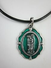 """Large St Christopher Medal Green Enamel Italy Necklace 17-19"""" Black Cord"""