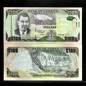 Jamaica 100 Dollars Banknote 2016 P-95c UNC Currency ***FREE SHIPPING***