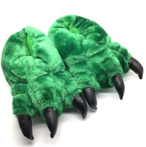 Unisex Novelty Monster Claw Animal Slippers Hulk Green Mens Boys Ladies