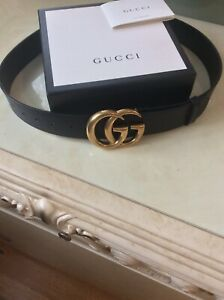 Gucci GG Marmont Leather Belt In Black Size 90/36 RRP: £320