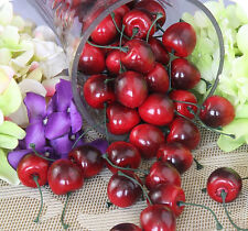 Hot 50Pcs Lifelike Fake Faux Cherry Artificial Fruit Model House Kitchen