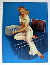 Authentic 1940-50s Pin Up Girl Picture  Young Blond Girl Adjusting Radio on Bed