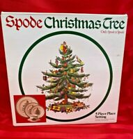 SPODE CHRISTMAS TREE 5 PIECE PLACE SETTING IN ORIGINAL BOX AND PACKAGING