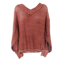 We The Free Sweater Free People XS Oversize Pullover V-Neck Long Sleeve Burgundy