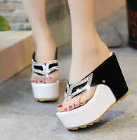 Chic Women's High Heel Rhinestone Platform  Thongs Wedge Shoes Sandals