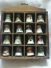 16 X China Thimbles In Display Case Including A Masons/Theodore Paul