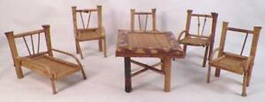 Dollhouse Miniature Chaise Lounge 4 Chairs Table Wood Wicker Vintage #7