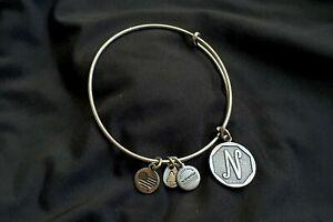 ALEX AND ANI Initial 'N' Charm Bangle Silver Bracelet 2015 BRAND NEW
