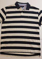 Mens Tommy Hilfiger Polo Shirt XL Blue White Horizontal Stripes EUC