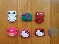 6 Rubber Hello Kitty  Big Hero One Piece Tony Fridge Magnets (set of 6)