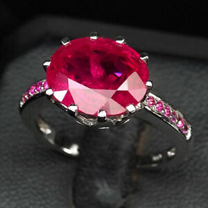 RUBY BLOOD RED OVAL 6.10 CT. 925 STERLING SILVER RING SIZE 7 JEWELRY GIFT WOMEN