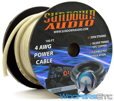 SUNDOWN AUDIO 4 GAUGE PWR4-100S SILVER 100FT PRO OFC SILVER TINNED COPPER WIRE