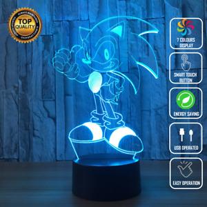 SONIC SEGA HEDGEHOG 3D Acrylic LED 7 Colour Night Light Touch Table Lamp Gift
