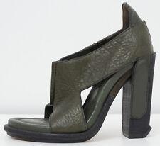 Alexander Wang 'Iman' Angled Heel Leather Dark Green Sandals SIZE 36 / 6