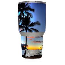 Skin Decal for Yeti 30 oz Rambler Tumbler / Paradise Sunset Palm Trees
