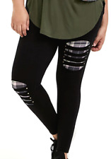Torrid 1X Plus Size Black Purple Plaid Slashed Punk Rock Stretch Knit Legging