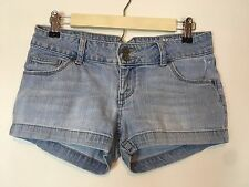 Mossimo Supply Denim Size 5 Mini Short Shorts 5 Pocket Zip Front Light Blue Wash