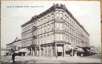 1910 Meadville, PA Postcard: Halsey & Lafayette Hotels - Pennsylvania Penn