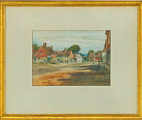 Joseph Compton Hall RBA (1863-1937) - 1919 Watercolour, Village Street Scene