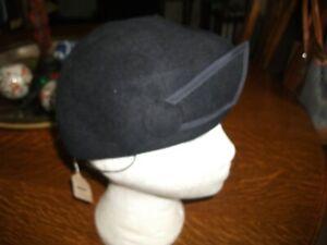 RARE VINTAGE 1940s NURSES BLACK FELT HAT WITH ELASTIC STRAP ORIGINAL LABELS