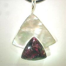 Marta Howell Sterling Silver White Lip Mother of Pearl Rare Eudialyte Pendant #2