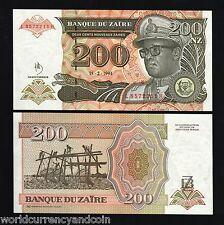 ZAIRE CONGO DR. 200 Z P62 1994 X 100 PCS LOT FULL BUNDLE LEOPARD MOBUTU UNC NOTE