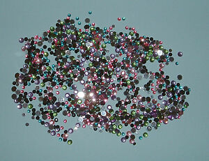 1000+ 4mm and 2mm Round Flat Backed Gems